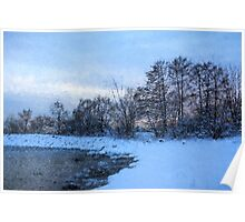 Snowy Beach Impressions Poster