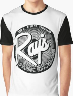 Ray's Music Exchange - Simple 3D Black & White Graphic T-Shirt