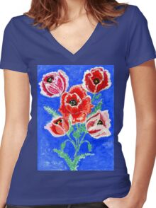 Poppies Bouquet Painting Women's Fitted V-Neck T-Shirt