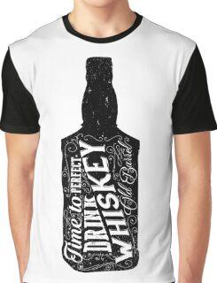 Whiskey bottle retro old vintage design illustration. Chalkboard poster typographic grunge label vector. Handwritten time to drink. Black bottle. Graphic T-Shirt