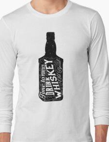 Whiskey bottle retro old vintage design illustration. Chalkboard poster typographic grunge label vector. Handwritten time to drink. Black bottle. Long Sleeve T-Shirt