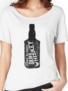 Whiskey bottle retro old vintage design illustration. Chalkboard poster typographic grunge label vector. Handwritten time to drink. Black bottle. Women's Relaxed Fit T-Shirt