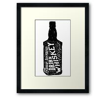 Whiskey bottle retro old vintage design illustration. Chalkboard poster typographic grunge label vector. Handwritten time to drink. Black bottle. Framed Print