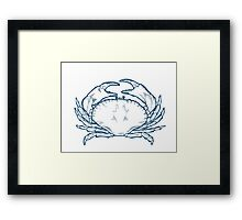 Crab seafood nature ocean aquatic underwater vector. Hand drawn marine engraving illustration on white background Framed Print