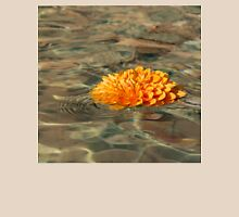 Floating Sunshine - a Vivid Orange Chrysanthemum in Velvety Fountain Reflections Unisex T-Shirt