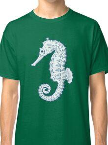 Seahorse sea horse nature ocean aquatic underwater vector. Hand drawn marine engraving illustration on white background Classic T-Shirt