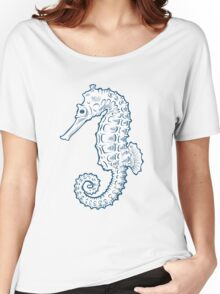 Seahorse sea horse nature ocean aquatic underwater vector. Hand drawn marine engraving illustration on white background Women's Relaxed Fit T-Shirt