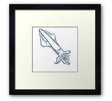 Squid seafood nature ocean aquatic underwater vector. Hand drawn marine engraving illustration on white background Framed Print