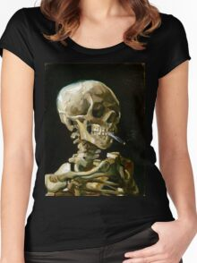 Vincent van Gogh Head of a Skeleton with a Burning Cigarette Women's Fitted Scoop T-Shirt