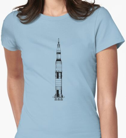 The Apollo Mission's Saturn V Rocket Womens Fitted T-Shirt