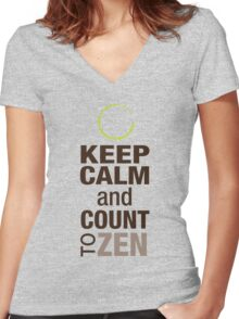 Keep Calm and Count To Zen Women's Fitted V-Neck T-Shirt