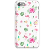 Pink watercolor flamingo spring tropical floral  iPhone Case/Skin