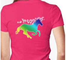 UNICORN, Rainbow, on Pink, Heraldry, Horse, Legend, Myth, Mythology, Tale, Story, fable, fiction, folklore, lore,  Womens Fitted T-Shirt