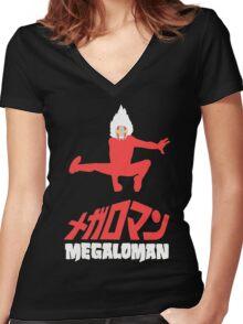 megaloman Women's Fitted V-Neck T-Shirt