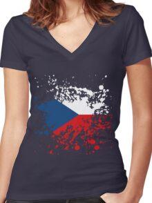 Czech Republic Flag Ink Splatter Women's Fitted V-Neck T-Shirt