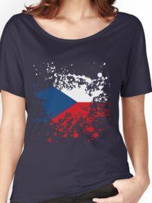 Czech Republic Flag Ink Splatter Women's Relaxed Fit T-Shirt