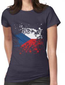 Czech Republic Flag Ink Splatter Womens Fitted T-Shirt
