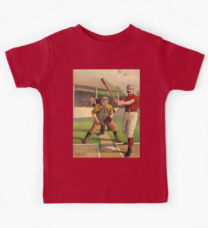 AMERICAN, BASEBALL, SPORT, POSTER, ANTIQUE, BALL, SOFTBALL, Pitch, Pitcher, Sport, Game, Bat and Ball game, on BLACK Kids Tee