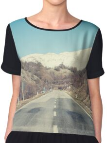 Road with mountain Chiffon Top