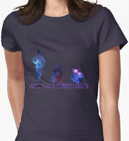 Join the droid side -Pink Womens Fitted T-Shirt