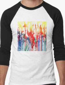Rainbow Rain Abstract Watercolor Men's Baseball ¾ T-Shirt