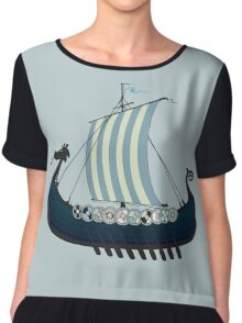 Blue viking ship Chiffon Top