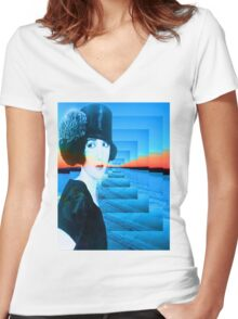 Top hat with snow Women's Fitted V-Neck T-Shirt