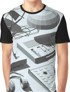 Low Poly Studio Objects 3D Illustration Grey Graphic T-Shirt
