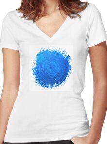 Blue brush strokes Women's Fitted V-Neck T-Shirt