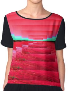 Red Abstract Chiffon Top