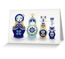 Russian Nesting Dolls – Blue & Gold Greeting Card