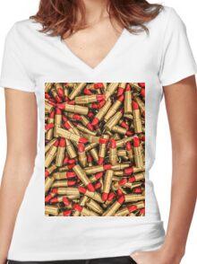 Lipstick Women's Fitted V-Neck T-Shirt