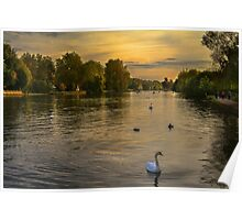 Thames Sunset At Marlow Buckinghamshire Poster