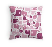 Pink Whale Pattern Throw Pillow
