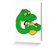 eating apple delicious seduction sin adam eva snake funny comic cartoon Greeting Card