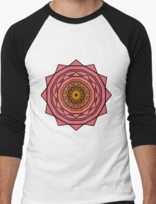 Sunny Kaleidoscope in Pink and Yellow Men's Baseball ¾ T-Shirt