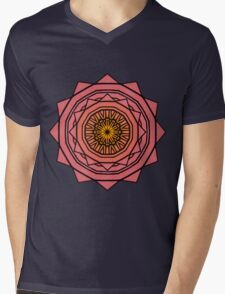 Sunny Kaleidoscope in Pink and Yellow Mens V-Neck T-Shirt