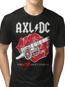 """Axl/DC """"For Rose About To Rock"""" (Black) Tri-blend T-Shirt"""
