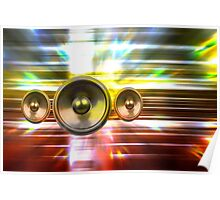 Audio speakers and party lights Poster