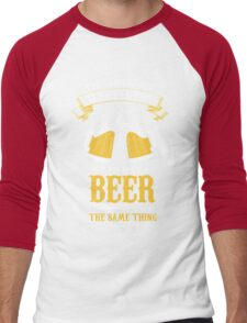 Beer and Happiness Men's Baseball ¾ T-Shirt