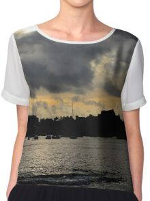 Silhouetted harbour at Port St Mary - photograph Chiffon Top