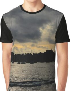 Silhouetted harbour at Port St Mary - photograph Graphic T-Shirt