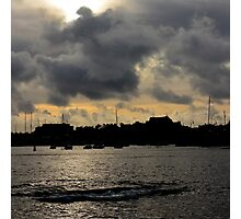 Silhouetted harbour at Port St Mary - photograph Photographic Print