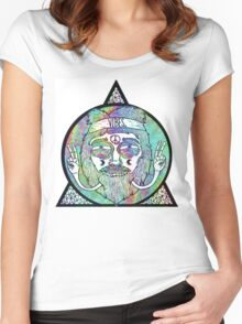 Trippy Psychedelic Hippie Design Women's Fitted Scoop T-Shirt