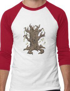 Gnarled Tree with Skeleton Keys in Red Men's Baseball ¾ T-Shirt