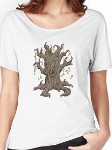 Gnarled Tree with Skeleton Keys in Red Women's Relaxed Fit T-Shirt