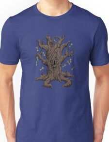 Gnarled Tree with Skeleton Keys in Red Unisex T-Shirt