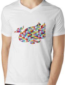 Swan Mural Mens V-Neck T-Shirt