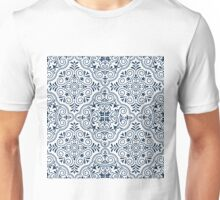 Midnight Blue Geometric Pattern Floral Moroccan Motive Unisex T-Shirt