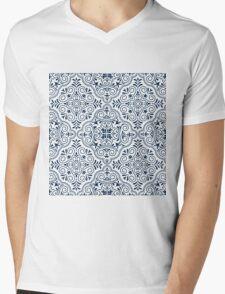 Midnight Blue Geometric Pattern Floral Moroccan Motive Mens V-Neck T-Shirt